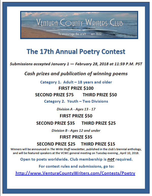 Ventura County Writers Club Poetry Contest