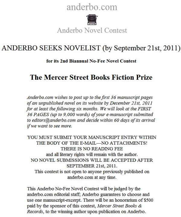 The Mercer Street Books Fiction Prize: No-Fee Novel Contest sponsored by Anderbo
