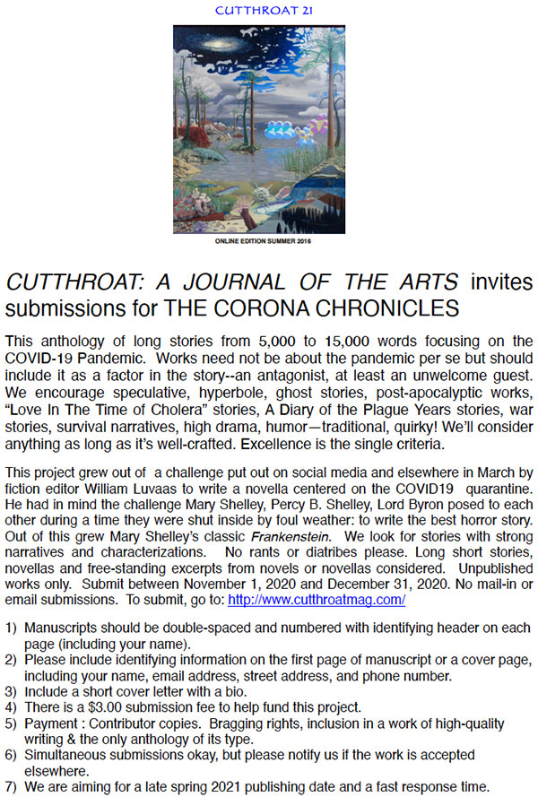 Cutthroat Invites Submissions for The Corona Chronicles Starting November 1
