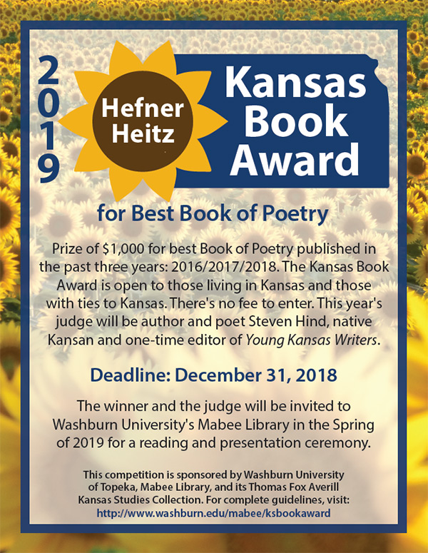 The 2019 Hefner Heitz Kansas Book Award in Poetry (no fee