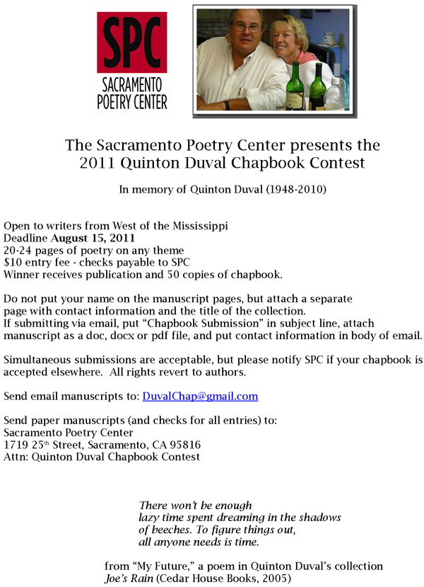 Sacramento Poetry Center - 2011 Quinton Duval Chapbook Contest