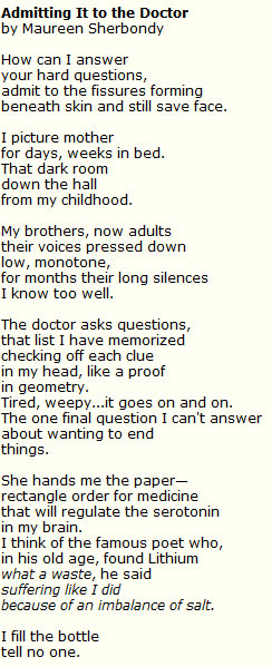 """Admitting It to the Doctor"" by Maureen Sherbondy"