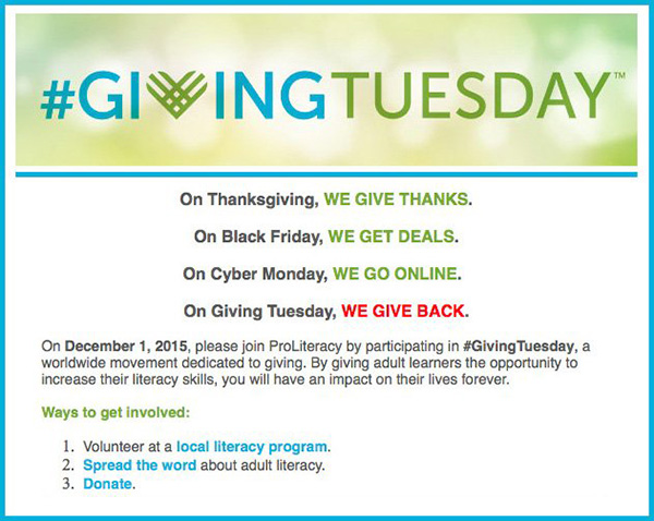 ProLiteracy and #GivingTuesday